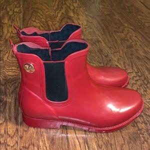 Women's Red Michael Kors Rain Boots Sz 6